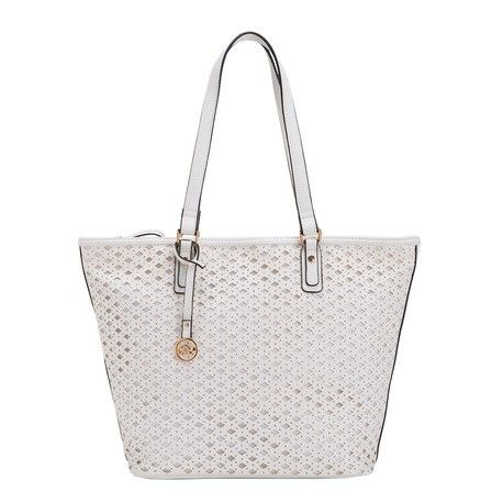 The shopping bag from the Liviana Carpisa line, made from ultra durable synthetic fabric, combines both style and practicality. Simple but sophisticated at the same time, this handy shopper bag is available in three different colours: the timeless classics of white or black, or a vibrant electric blue.