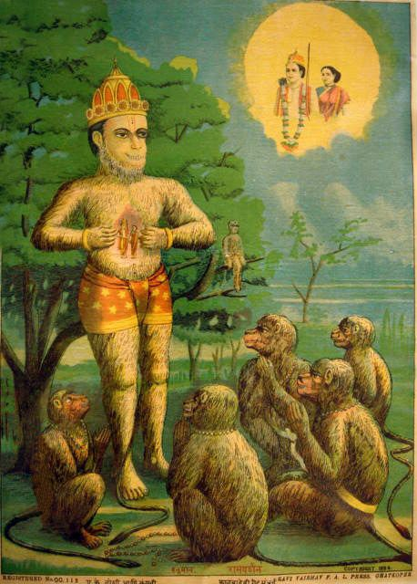 He who exults not at honours, and grieveth not at slights, and remaineth cool and unagitated like a lake in the course of Ganga, is reckoned as wise.  Photo: Hanuman