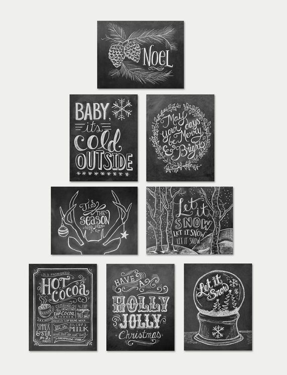 Assorted Box Set Of 8 Christmas Cards - Chalkboard Cards - Christmas Note Card Set - Christmas Chalkboard - Black and White Christmas
