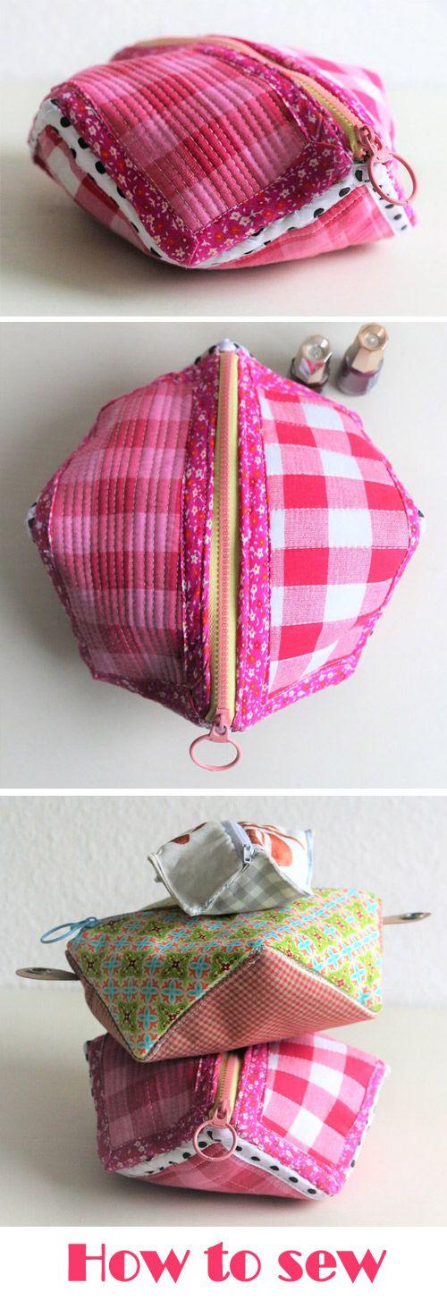 Sew square pocket with zipper Bag. DIY Tutorial http://www.free-tutorial.net/2017/10/square-pocket-bag-tutorial.html