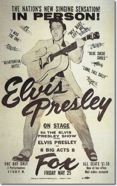 Elvis-Detroit, MI. Fox Theater May 25, 1956.It had been a whirlwind five months for the soft-spoken truck driver from Tupelo, Miss., whose first RCA Records session in January, yielded 'Heartbreak Hotel', EP was winding up a tour of the Midwest when he came to Detroit on May 25, 1956.