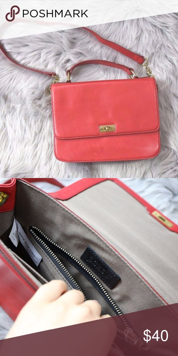 J-CREW-Cute-Red-Leather-Schoolgirl-Style-Satchel- *Disclaimer:  -Color is pretty accurate on my screen. The vibrance may vary due to individual screen calibrations so bear that in mind with this purchase!  Approx. Measurements:  -Depth (I stretched out the purse to max depth without hurting it): 2 1/2 in. -Length ( from top of strap to bottom of purse with strap on): 22 in. -Length: Just about 10 in. give or take a millimenter. -Width: 8 in. J. Crew Bags Crossbody Bags