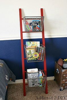 pottery barn teen inspired ladder shelf, bedroom ideas, diy, repurposing upcycling, shelving ideas, woodworking projects