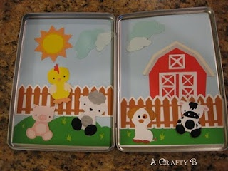 Old cookie sheet turned into a cute magnet board for kids! (from A girl and a glue gun) Perfect for traveling in the car!