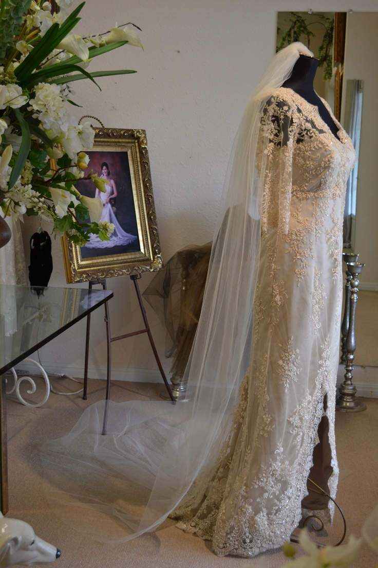 Love this beautiful and elegant wedding gown in champagne!  Made by www.couturesbylaura.com