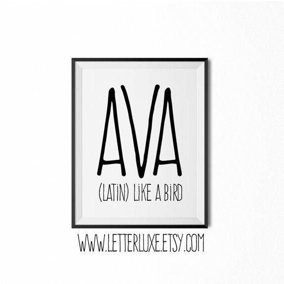 Ava - Name Meaning - Printable Nursery Art - Baby Shower Gift - Inspirational Typography Art - Digital Print - Nursery Decor - Wall Decor