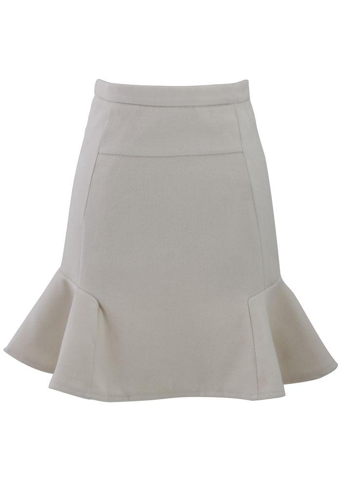 { Off-White Frill Hem Wool Felt  Skirt }