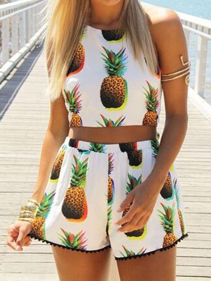 Beige Pineapple Print Sleeveless Pom Poms Two Piece Suit