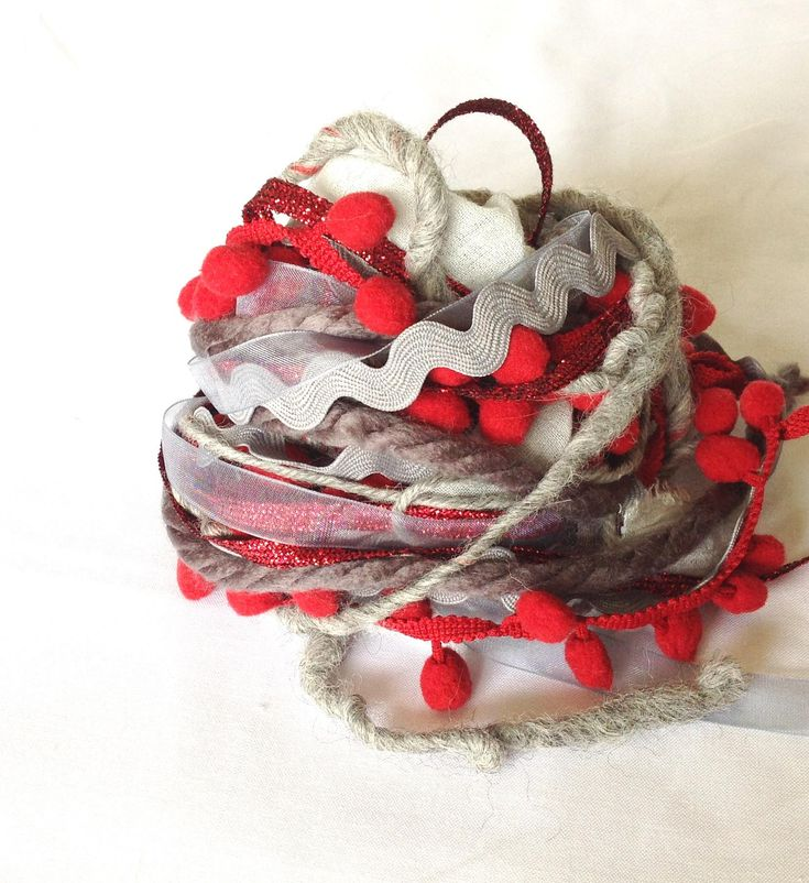 Art Fiber Bundle - Fire and Ash, Weaving, Grey and Red by AltitudeFarmStore on Etsy