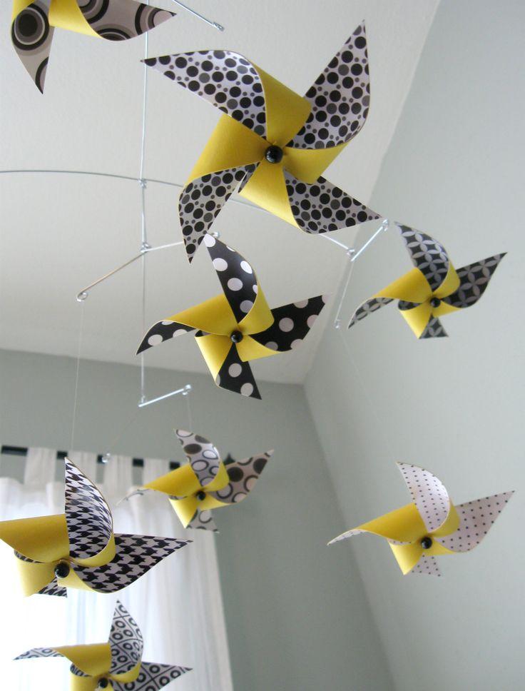 Yellow, Black and White Mobile / Crib Mobile / Baby Mobile / Nursery Decor / Pinwheels : Hello Yellow. $69.50, via Etsy.