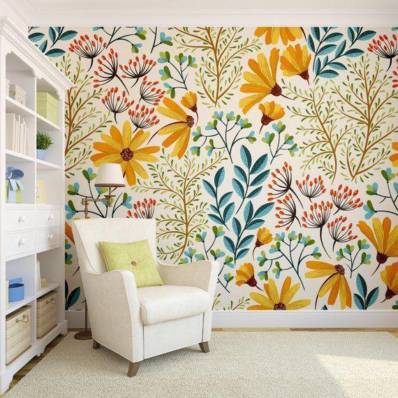 Removable Wallpaper Colorful Floral | Wallpaper, Peel and Stick Wallpaper, Wall mural, Removable Wallpaper, Self adhesive wallpaper #14