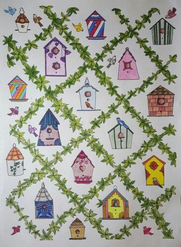Birdhouses From Creative Havens Whimsical Gardens Coloring Book