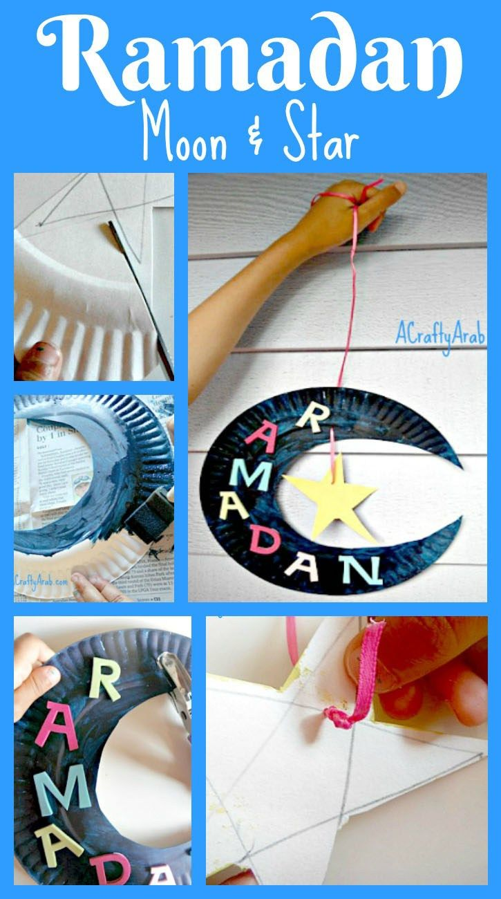 A Crafty Arab: Ramadan Moon & Star. Well, here we are, half-way through our 30 day Ramadan Crafty Challenge.  We have been having so much fun doing all these crafts. I have to admit, it's been great spending some one on one with each daughter as she does her craft. Today was my five year old's chance to create her own wall decorative hanging …