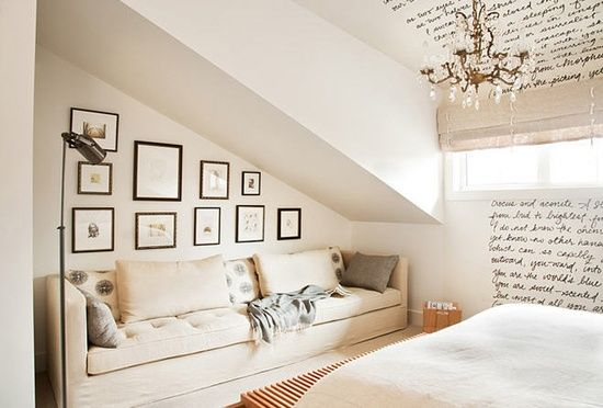 designer kelly deck  what to do with weird ceilings!  nice reading nook for 1 plus small black and white creatures