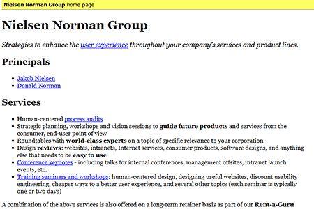 Nielsen Norman Group website 1998