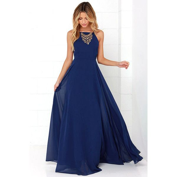 Mythical Kind of Love Navy Blue Maxi Dress ($64) ❤ liked on Polyvore featuring dresses, blue, evening maxi dresses, navy blue maxi dress, long maxi skirts, navy blue cocktail dress and navy blue maxi skirt