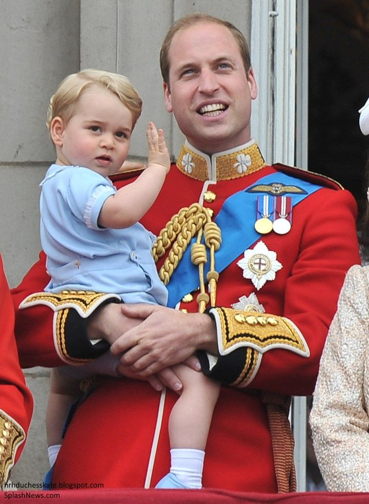 Prince's William and George at Trooping of the Colour 2015. George wore the same blue button suit William wore at his first Trooping of the Colour.