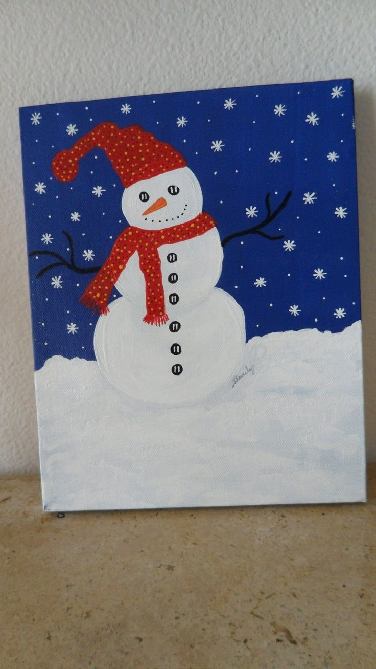 Cute Frosty the snowman canvas paint idea for wall decor. Canvas painting. Wall art. Merry Christmas. Winter. Red, black, blue and white. Snowflakes. Personalize. Snowman.