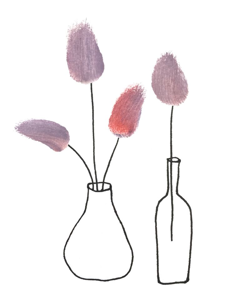 Watercolor Flowers in Vase