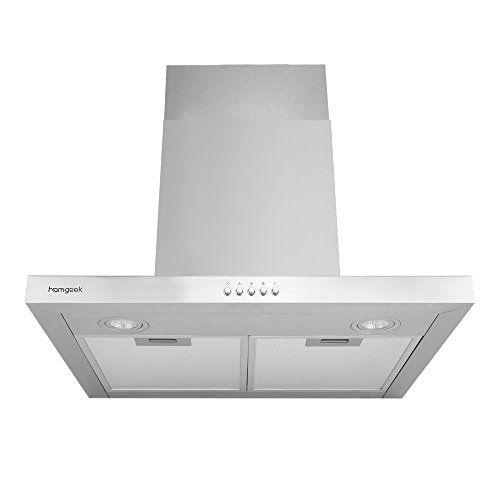 Homgeek T-Form Wandhaube Kaminhaube / 60 cm / 400 m3/h / LED Beleuchtung / 3 Stufen / Edelstahl