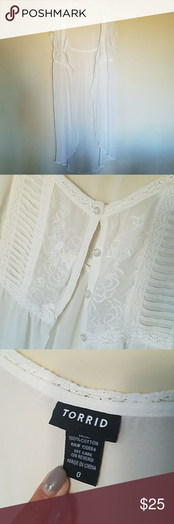 Sheer cover-up White sheer cover-up. Buttons at the chest torrid Swim Coverups