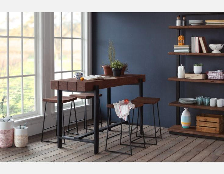 PACIFICA - Solid acacia wood counter stool 23.5'' - Brown - structube.com
