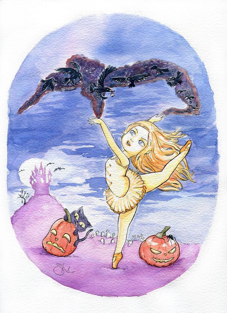 Halloween ballet girl, evil pumpkins cute, witch halloween ballet,crows eat.