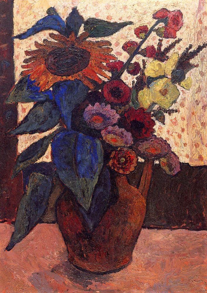 Paula Modersohn Becker - Still life with sunflowers, hollyhocks and Georgia