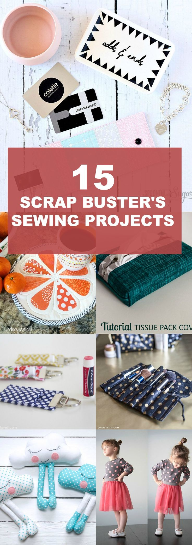 FREE PATTERNS ALERT: 15 scrap buster's projects. Get access to 15 sewing projects and sewing tutorials to make use of your scraps.