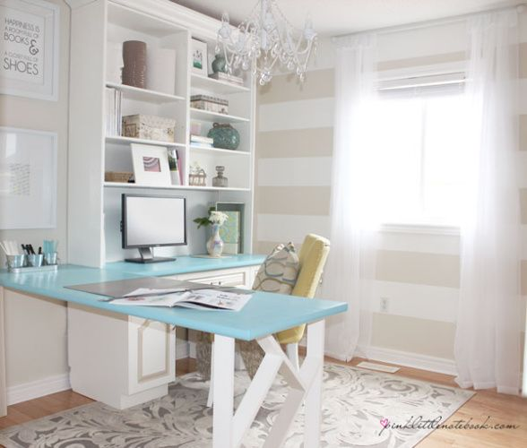 Home Office Makeover - Light turquoise table and beige and white striped walls go so nicely together.  Light with a splashes of color.