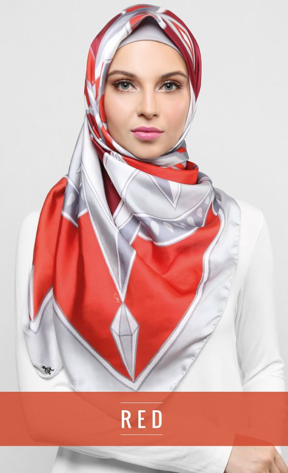 [SOLD] Kaleidoscope Square Scarf in Red