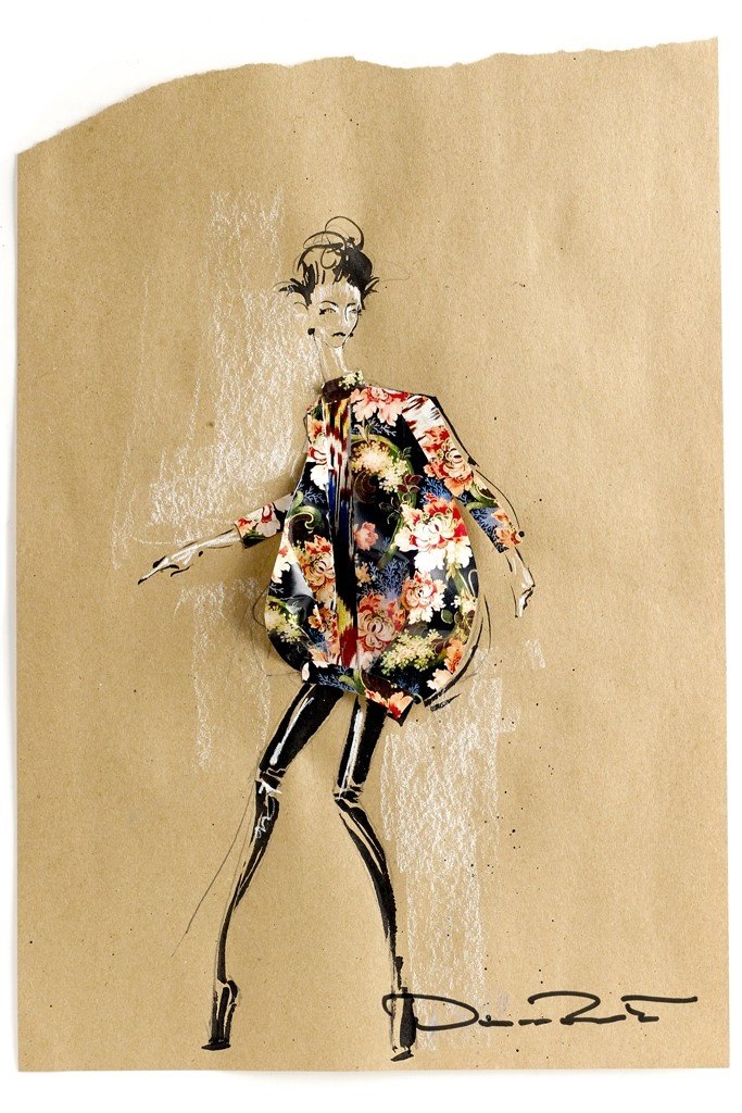 """Jet set gypsy"" — Oscar de la Renta fashion illustration. Fall 2013 Designer Inspirations."