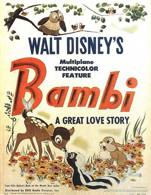 Oh, I loved this movie - loved Bambi - but wow, I saw it years later as an adult and parts of it...the hunters...Bambi losing his mother - was really tough to watch!  But gorgeous gorgeous animation.