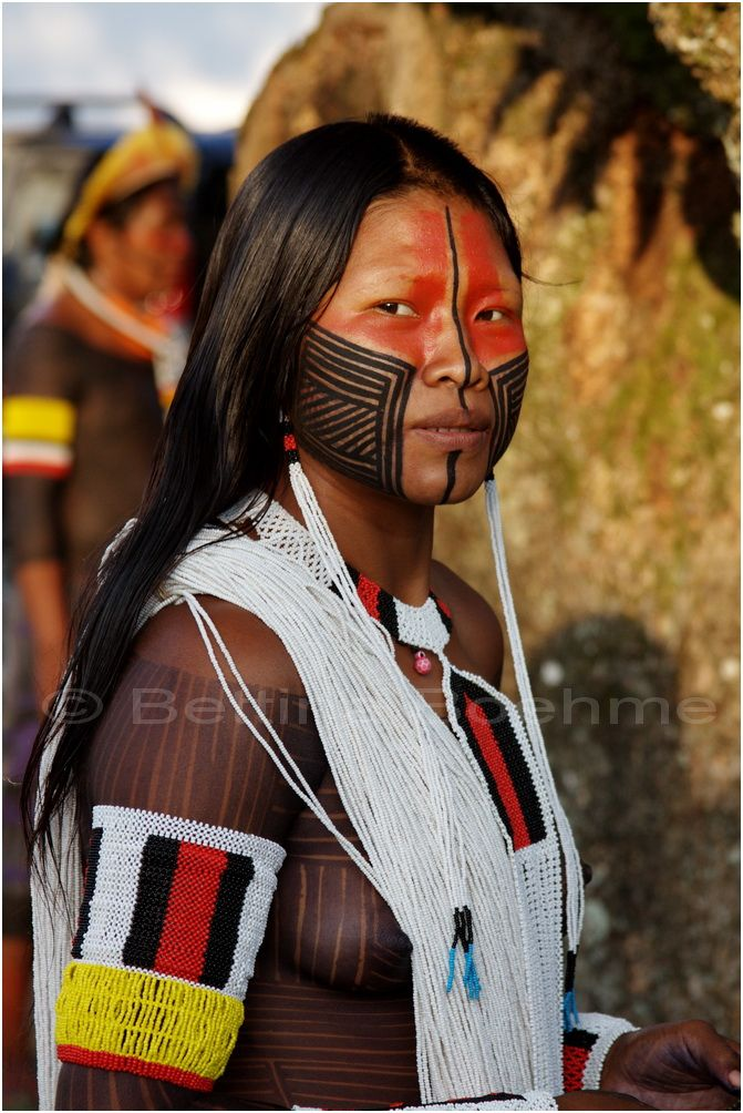 South America | Portait of a Kayapo woman with a decorated face, Brazil | © Bettina Boehme.