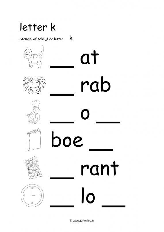 Werkbladen letter k