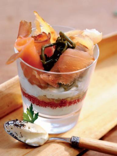 Recette Verrine de saumon fumé pour l'entrée, notre recette Verrine de saumon fumé pour l'entrée - aufeminin.com