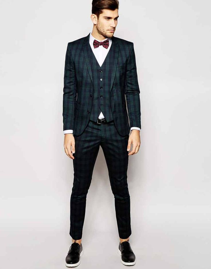 Image 1 ofSelected Light Green Tartan Suit in Skinny Fit
