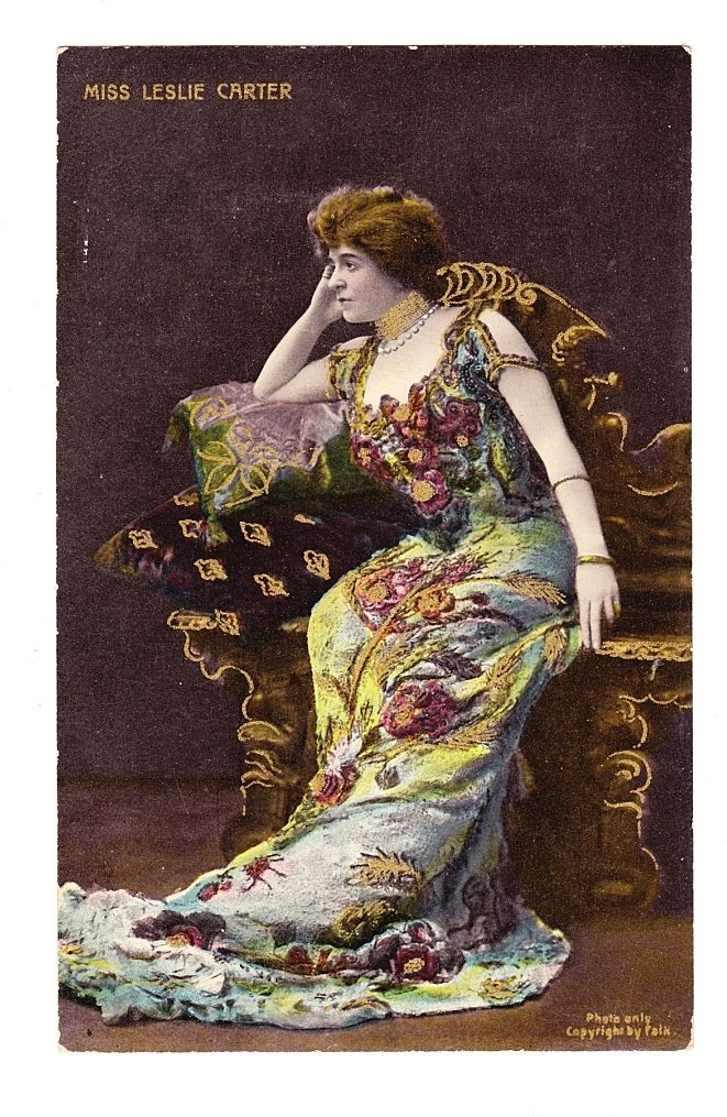 Circa 1906 New York Stage Actress Lithograph Antique Photo Postcard - Mrs. Leslie Carter (1862-1937) - Benjamin Falk Photographer - Published by England-Based Lithographer Bamforth & Co. - Unused  Vintage and Antique Postcards on Ruby Lane $25