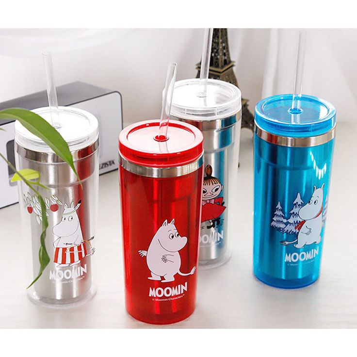Moomin Smart Stainless 350ml Tumbler Water Bottle Cup 2in 1 Cap Straw Set