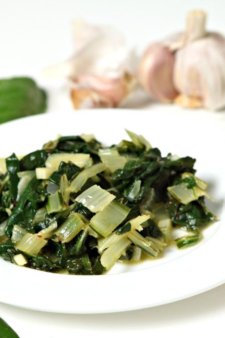 Simple Swiss Chard Recipe - with olive oil, balsamic vinegar, garlic, salt, & pepper