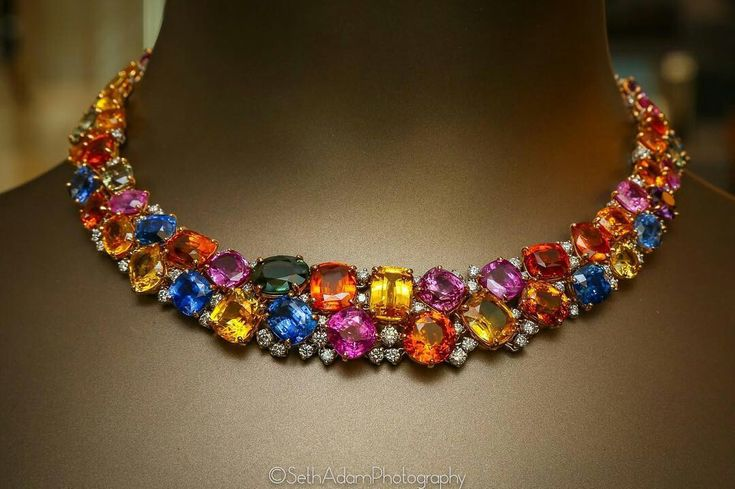 Yamron Jewelers - Unique 208 carat multi-colored Sapphire necklace - accompanied by 8 carats of white diamonds - a one of a kind design.