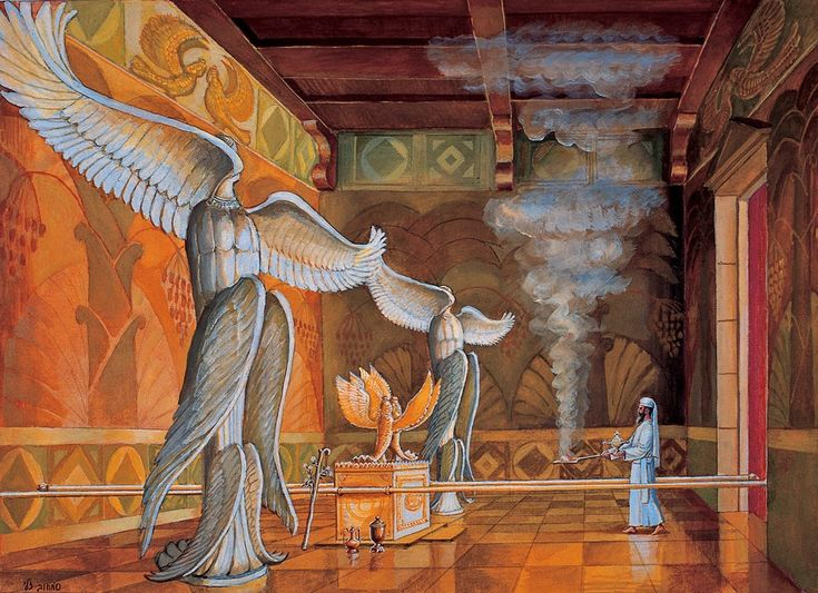 The picture depicts the Holy of Holies as it appeared in the first Temple.