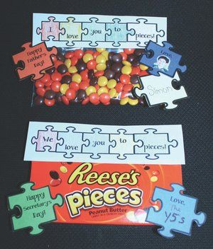 """i love you to pieces."" puzzle header great for Father's Day, Mother's Day,  or a treat for your own students.  ""We love you to pieces."" Nice for Secretary's Day or a thank you to volunteers at the end of the year. FREE templates."