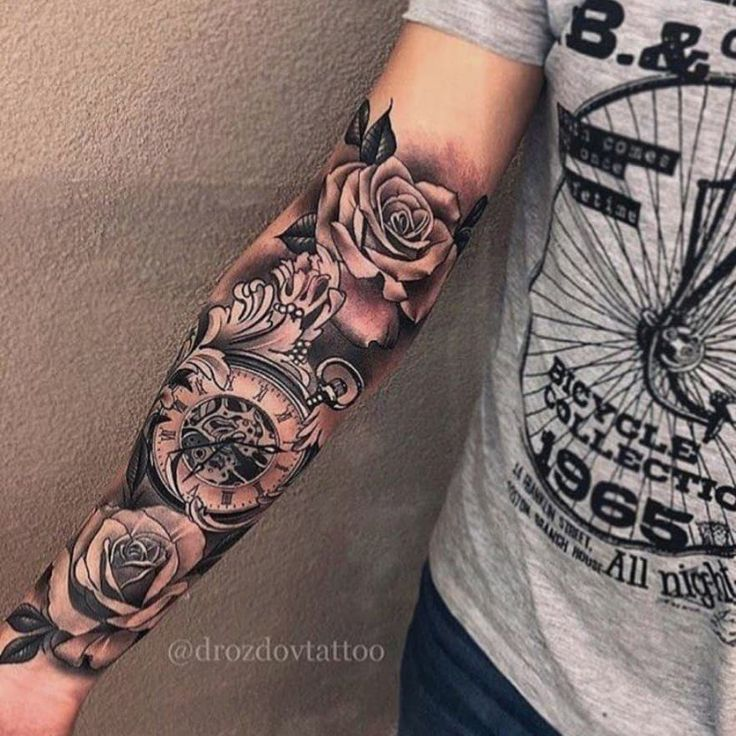 Amazing Full Sleeve With Roses A Time Motifs Realistic Style Tattoos For Guys Arm Tattoos For Guys Sleeve Tattoos