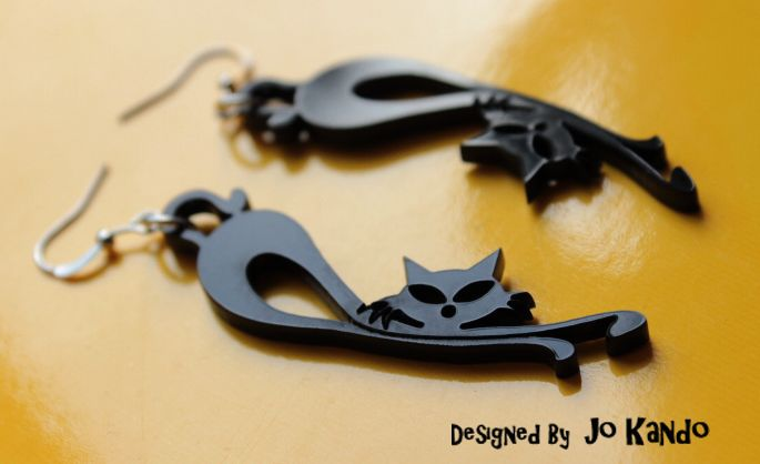 Cats - Plaxiglass Earrings - Original Design di Oniric Boutique su DaWanda.com