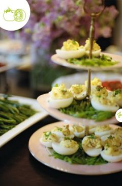 summer luncheon menu:  antipasto display, savory spinach pie, deviled eggs, asparagus spears and creamy tomato bisque