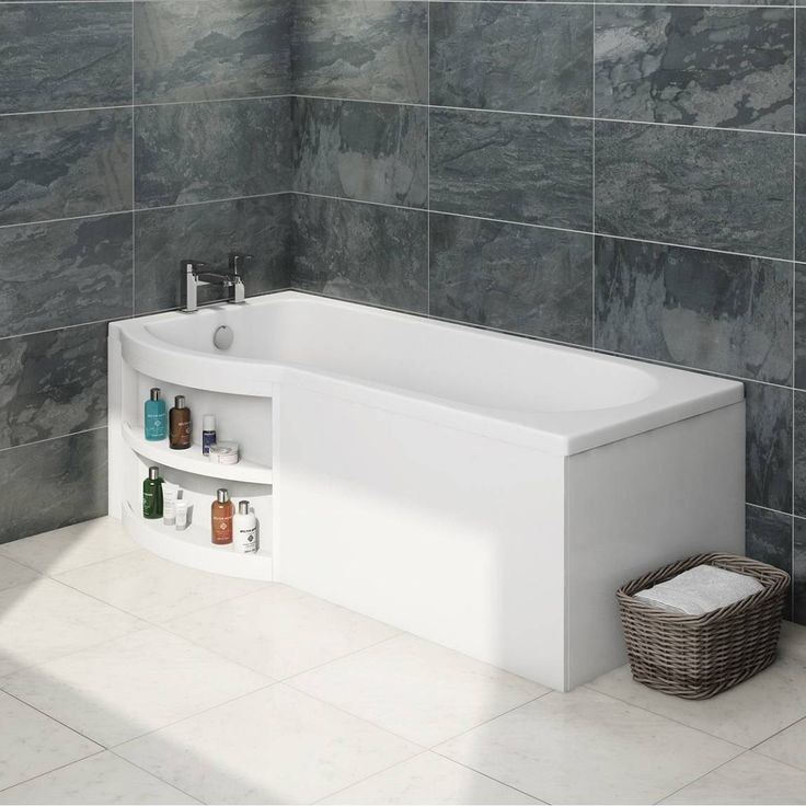 Victoria Plumb Showers >> MySpace Water Saving P Shape Shower Bath Left Hand with Storage Panel - Victoria Plumb | Shower ...
