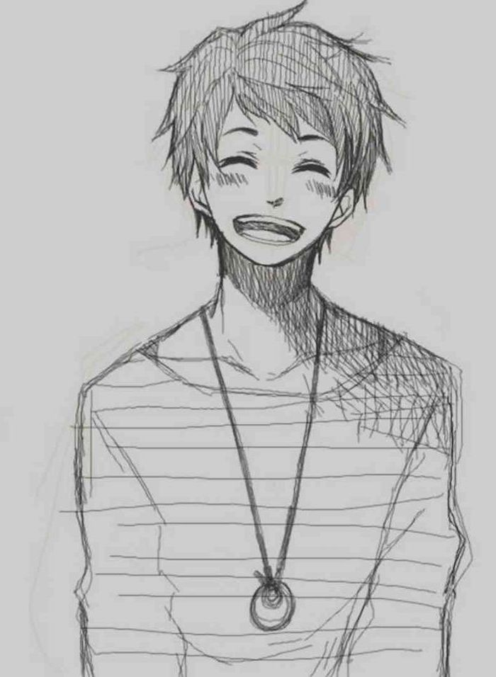 Smiling Boy Anime Face Black And White Sketch In 2020 Anime Boy Sketch Anime Drawings Boy Anime Drawings