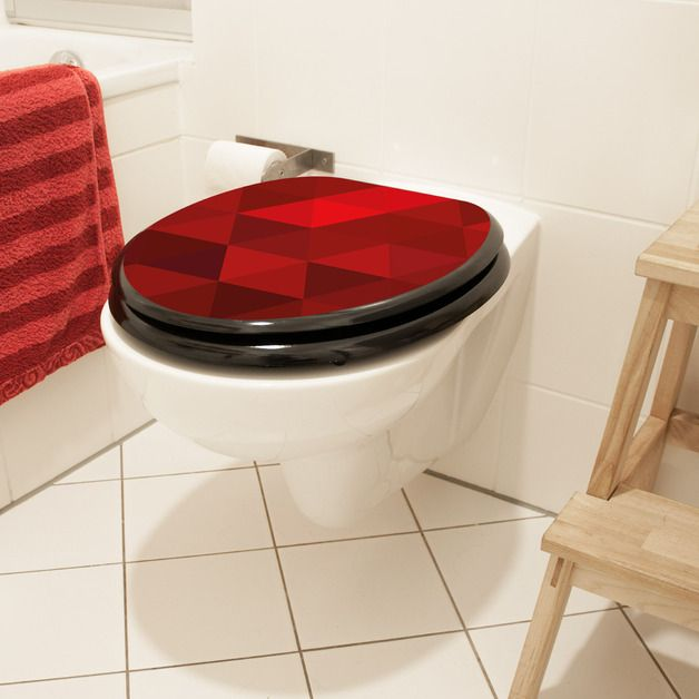 Weiteres - Toilettendeckel WC Sitz mit Motiv Dreiecke Rot - ein Designerstück von banjado bei DaWanda