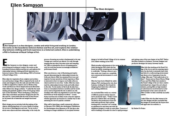 This is my Designer Profile double page spread. Can you give me some advice, and opinions as we all need to have a coherent aesthetic throughout the magazine.